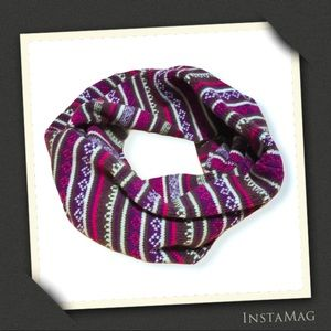 Accessories - Multicolor Fair Isle Pattern Knit Infinity Scarf